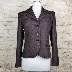Max Mara Brown Floral Jacquard Fitted Brown Blazer
